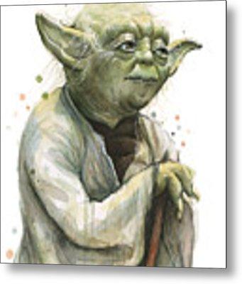 Yoda Watercolor Metal Print by Olga Shvartsur