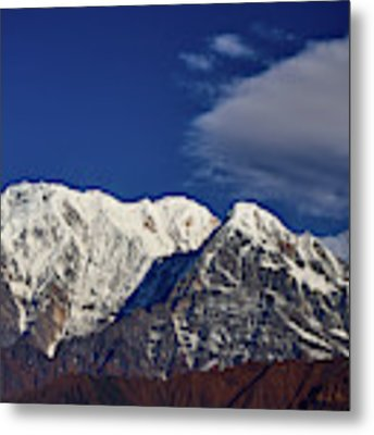 Annapurna South Peak And Pass In The Himalaya Mountains, Annapurna Region, Nepal Metal Print by Raimond Klavins