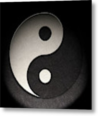 Yin Yang Symbol Leather Texture Metal Print by Brian Carson