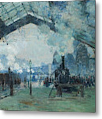 Arrival Of The Normandy Train, Gare Saint-lazare Metal Print by Claude Monet