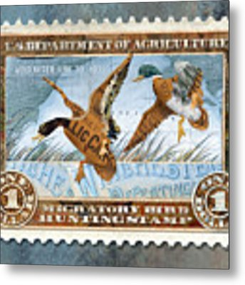 1934 Hunting Stamp Collage Metal Print by Clint Hansen