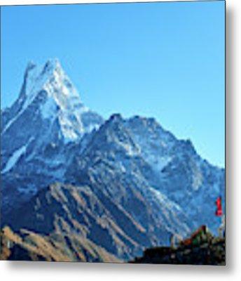 Machapuchare Mountain Fishtail In Himalayas Range Nepal Metal Print by Raimond Klavins