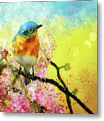 A Bluebird On The Redbud Metal Print by Lois Bryan