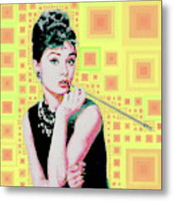 Audrey Hepburn Breakfast At Tiffanys In Mca Mid Century Abstract Squares 20190219 P41 Metal Print by Wingsdomain Art and Photography