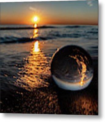 Beach Sun Rise With Glass Ball Metal Print by Sven Brogren