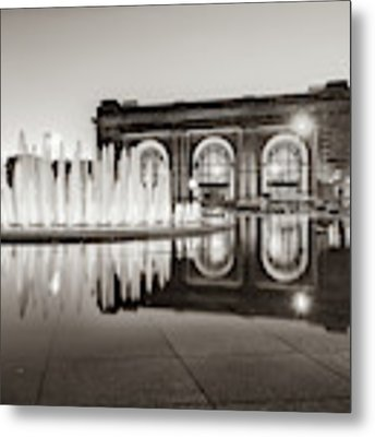 Bloch Fountain At Union Station - Downtown Kansas City Sepia Metal Print by Gregory Ballos