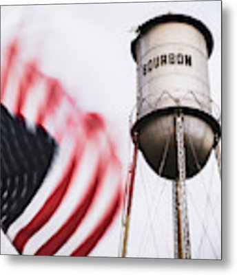 Bourbon Water Tower Usa Vintage - 1x1 Metal Print by Gregory Ballos