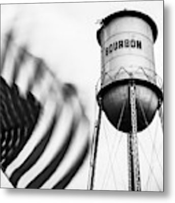 Bourbon Water Tower Usa Vintage - 1x1 Monochrome Metal Print by Gregory Ballos