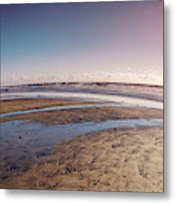 Carlsbad Low Tide Red Blue Sky Metal Print by Alison Frank