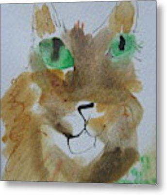 Cat Face Yellow Brown With Green Eyes Metal Print by AJ Brown