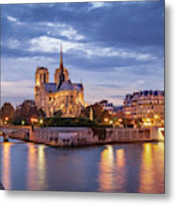 Cathedral Notre Dame And River Seine Metal Print by Brian Jannsen