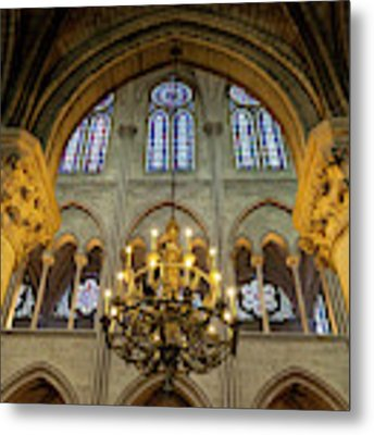 Cathedral Notre Dame Chandelier Metal Print by Brian Jannsen