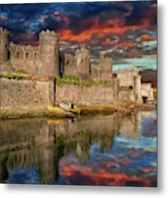 Conwy Castle Sunset Metal Print by Adrian Evans