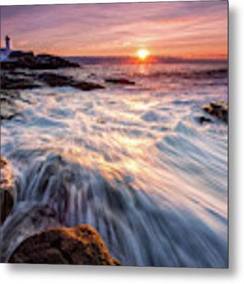 Crashing Waves At Sunrise, Nubble Light.  Metal Print by Jeff Sinon