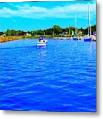 Dunkirk New York Harbor With Neon Effect By Rose Santucisofranko Metal Print by Rose Santuci-Sofranko