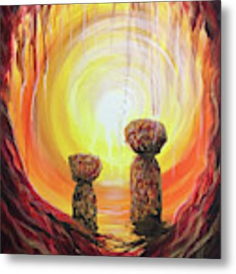 Fire And Earth Latte Stones Metal Print by Michelle Pier