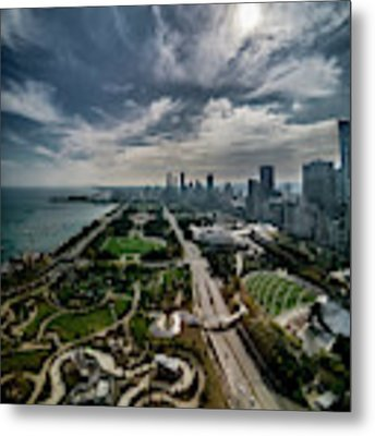 fisheye view of Chicago from the 30th floor Metal Print by Sven Brogren