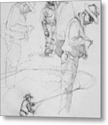 Fly Fisherman Sketch Metal Print by Jani Freimann