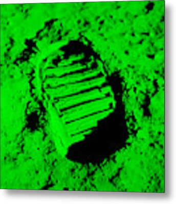 Foot Print On The Moon In Green Metal Print by Rob Hans
