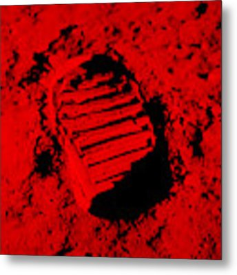 Foot Print On The Moon In Red Metal Print by Rob Hans