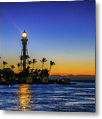 Golden Lighthouse Reflection Metal Print by Tom Claud