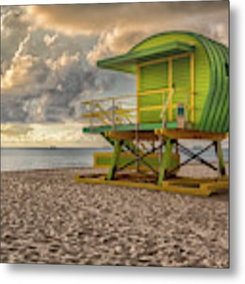 Green Lifeguard Stand Metal Print by Alison Frank