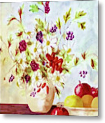 Harvest Time-still Life Painting By V.kelly Metal Print by Valerie Anne Kelly