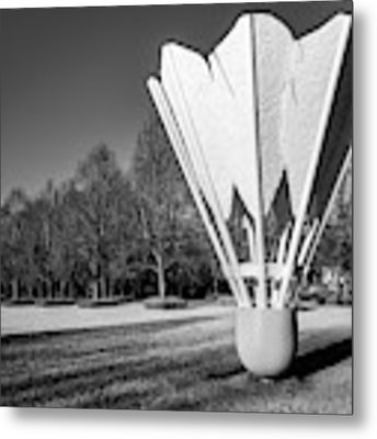 Kansas City Shuttlecock Sculpture In Infrared Monochrome Metal Print by Gregory Ballos