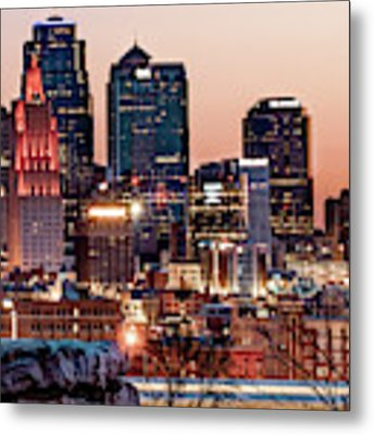 Kansas City Skyline At Red Dawn Metal Print by Gregory Ballos