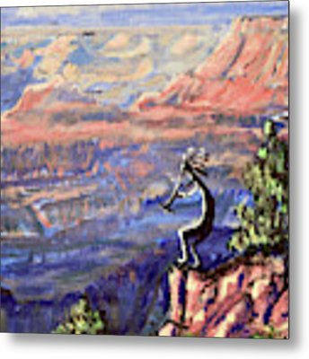 Kokopelli At The Grand Canyon  Metal Print by Chance Kafka