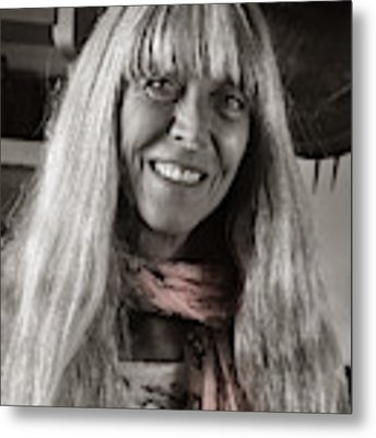 Lady With A Scarf Metal Print by Ron Cline