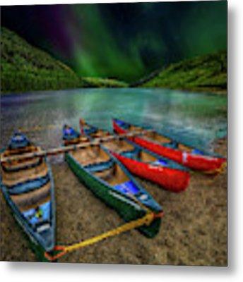 lake Geirionydd Canoes Metal Print by Adrian Evans