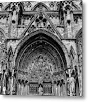 Lincoln Cathedral Side Entrance Monochrome Metal Print by Scott Lyons