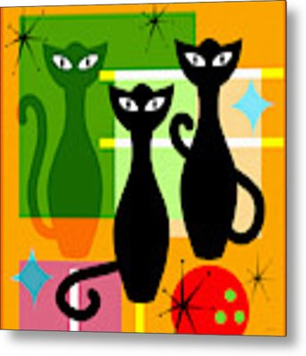 Mid Century Modern Abstract Mcm Bowling Alley Cats 20190113 Square Metal Print by Wingsdomain Art and Photography