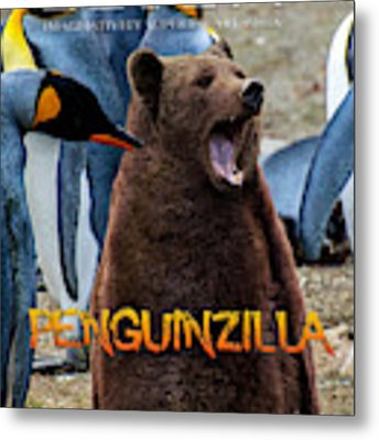 Penguinzilla Metal Print by ISAW Company