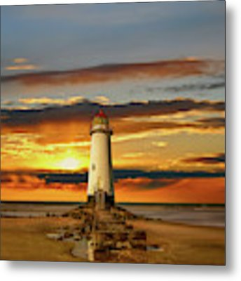 Point Of Ayr Lighthouse Sunset Metal Print by Adrian Evans