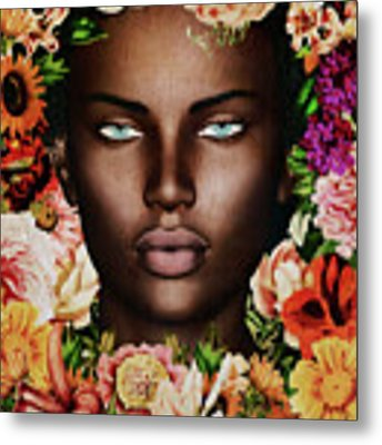 Portrait Of African Woman Surrounded With Flowers Metal Print by Jan Keteleer
