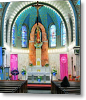 Praying At The Immaculate Heart Of Mary Church - San Antonio - Painted Church Metal Print by Jason Politte