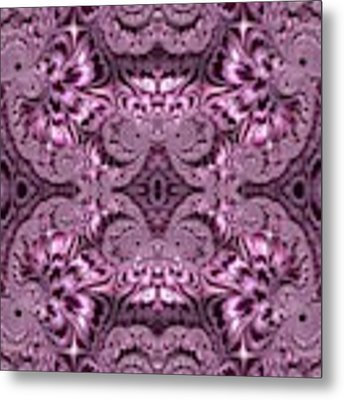 Purple Lilac Gardens And Reflecting Pools Fractal Abstract Metal Print by Rose Santuci-Sofranko