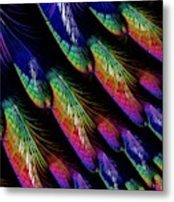 Rainbow Colored Peacock Tail Feathers Fractal Abstract Metal Print by Rose Santuci-Sofranko