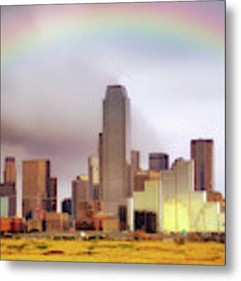 Rainbow Over Downtown Dallas - Dallas Skyline - Texas Metal Print by Jason Politte