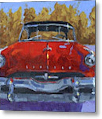Red 1954 Lincoln Capri Metal Print by David King