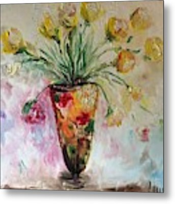 Roses In Vase Metal Print by Laurie Lundquist