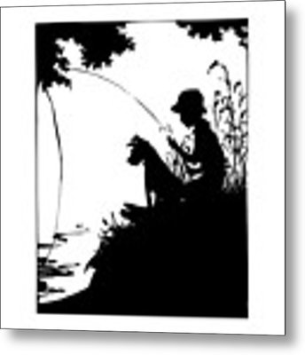 Silhouette Of A Boy Fishing With His Dog Metal Print by Rose Santuci-Sofranko