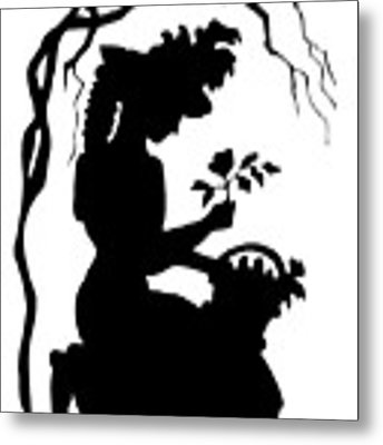 Silhouette Woman Picking Roses Metal Print by Rose Santuci-Sofranko