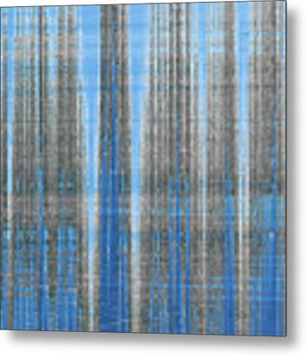 Silver Blue Plaid Abstract #4 Metal Print by Patti Deters