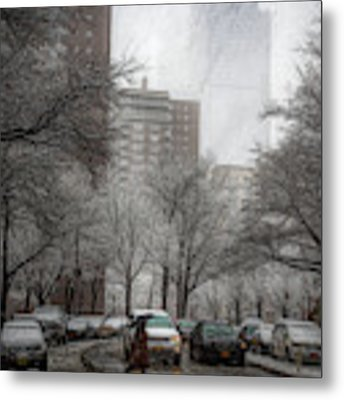 Snow In The City Metal Print by Alison Frank