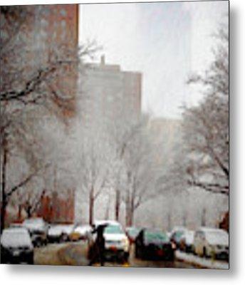 Snowy Street Scene Metal Print by Alison Frank