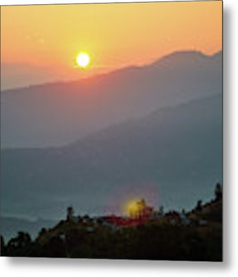 Sunset Above Mountain In Valley Himalayas Mountains Metal Print by Raimond Klavins