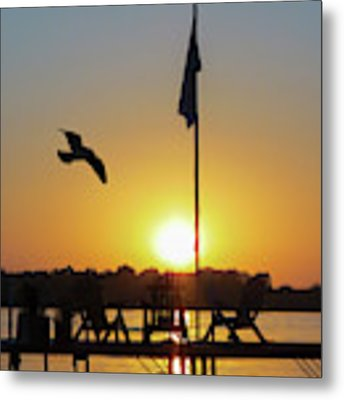 Sunset Dock Flag Silhouette Metal Print by Patti Deters